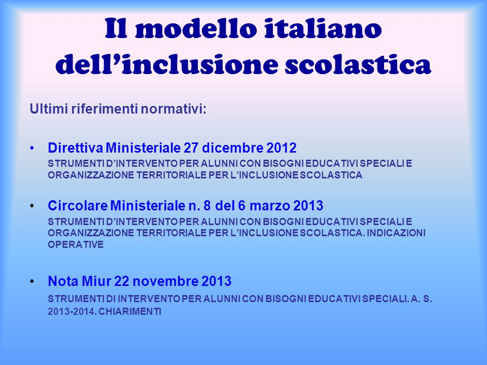 Il modello italiano dell'inclusione scolastica