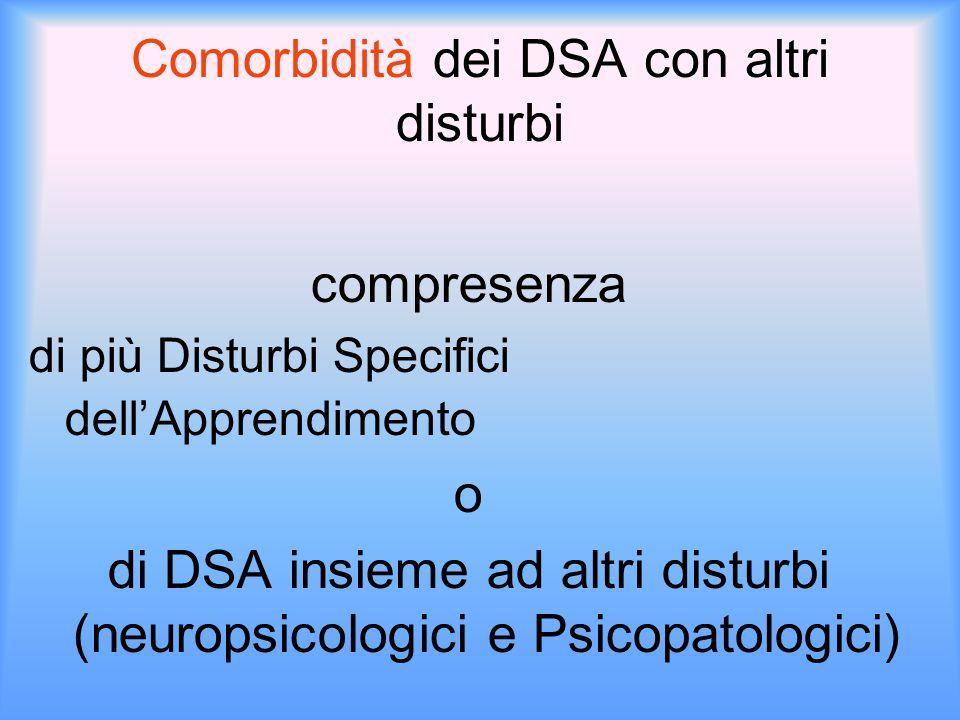 Comorbidità dei DSA con altri disturbi