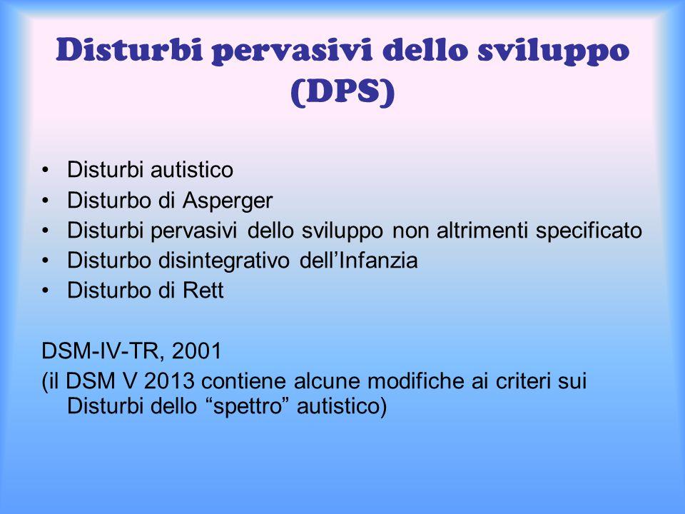 Disturbi pervasivi dello sviluppo (DPS)
