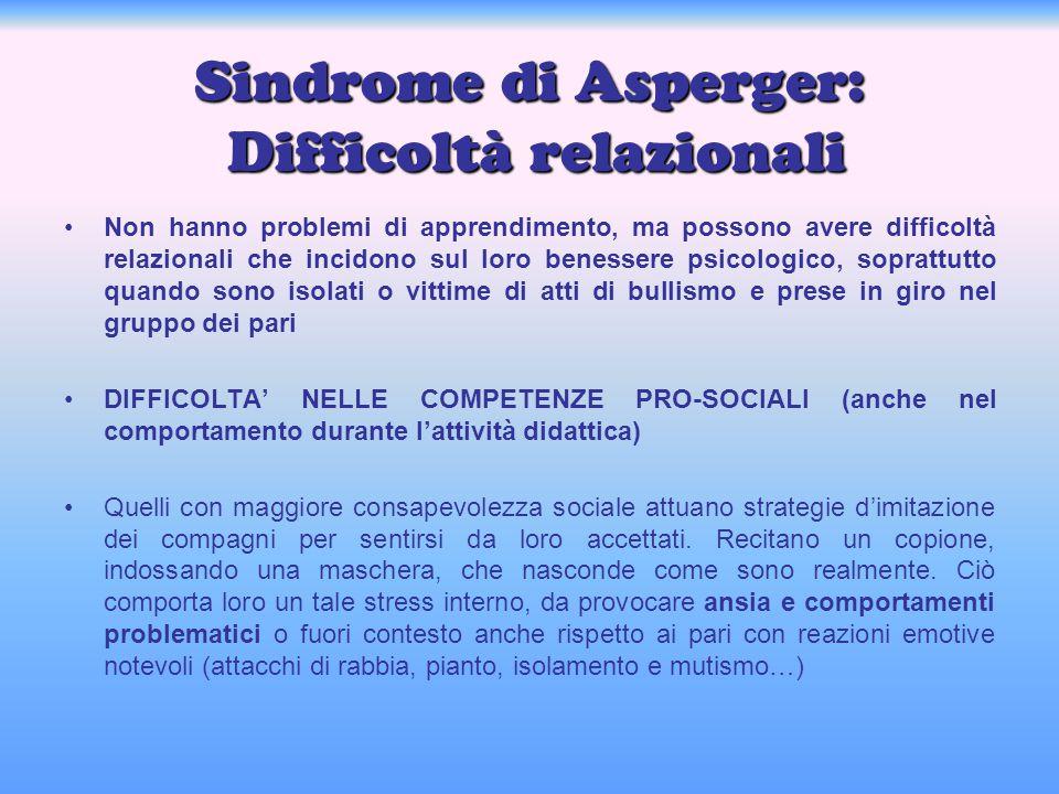 Sindrome di Asperger: Difficoltà relazionali