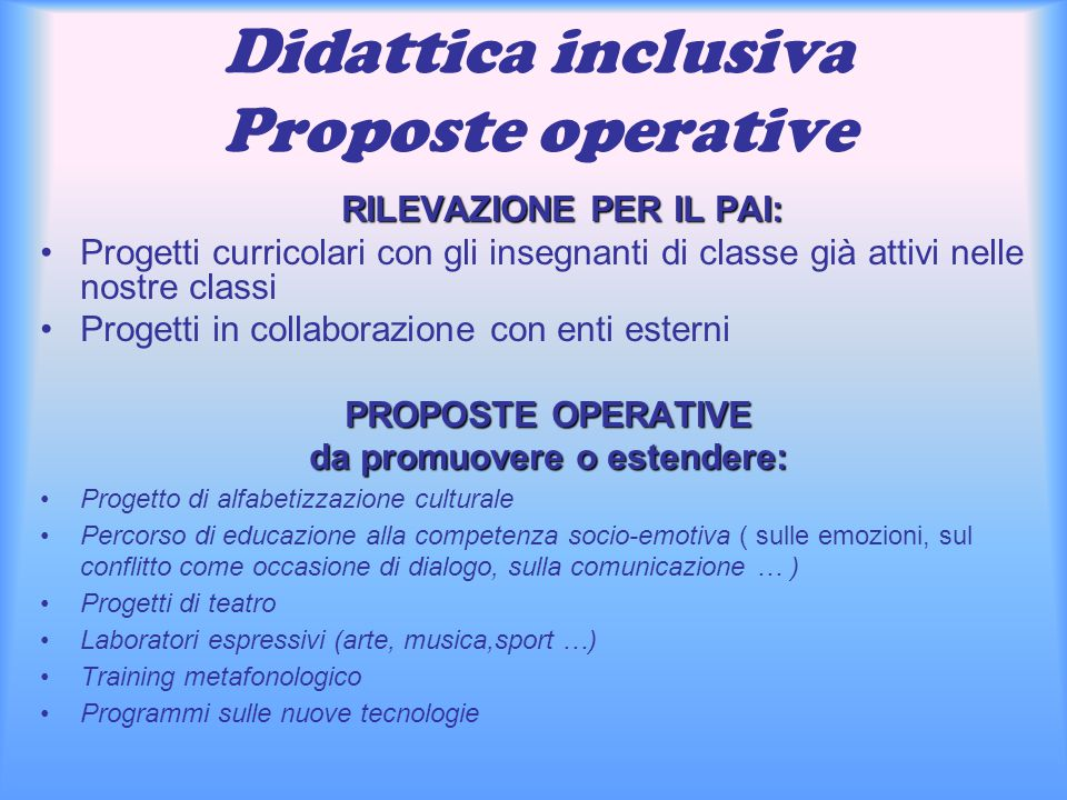 Didattica inclusiva Proposte operative