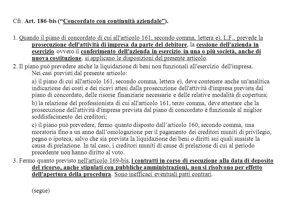 Cfr. Art. 186-bis ( Concordato con continuità aziendale ).