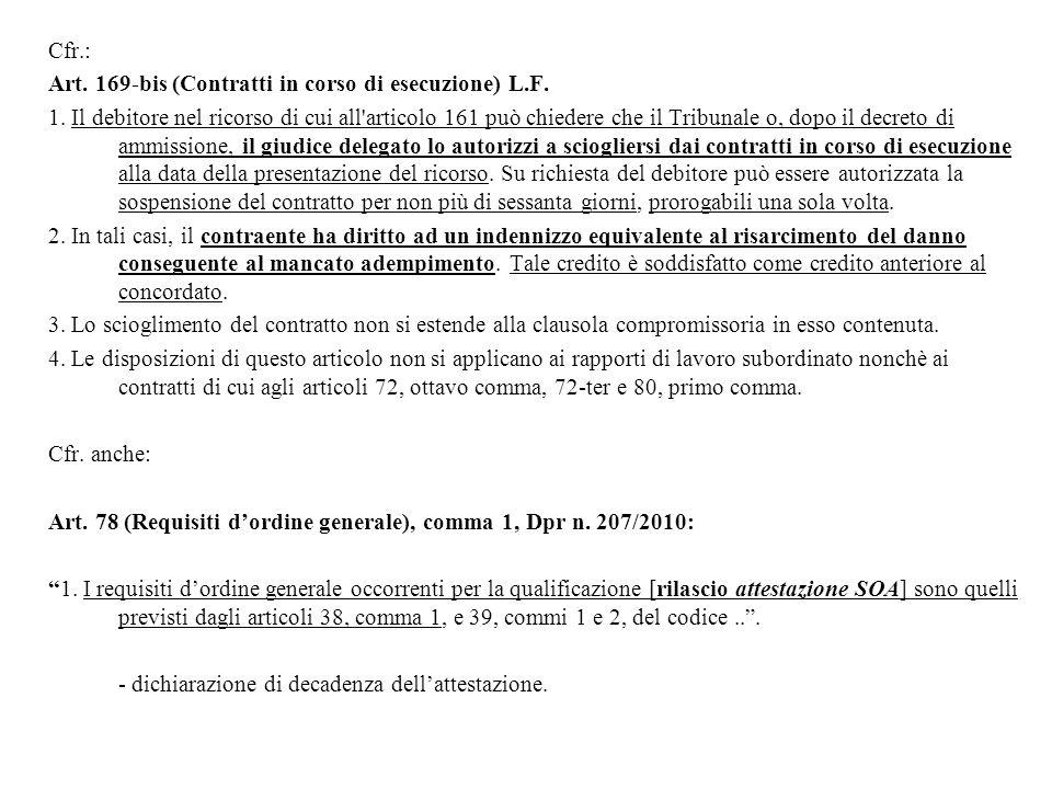 Cfr.: Art. 169-bis (Contratti in corso di esecuzione) L.F.