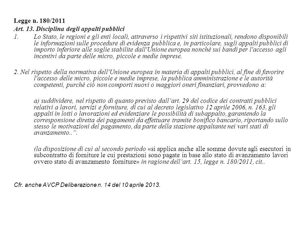Art. 13. Disciplina degli appalti pubblici