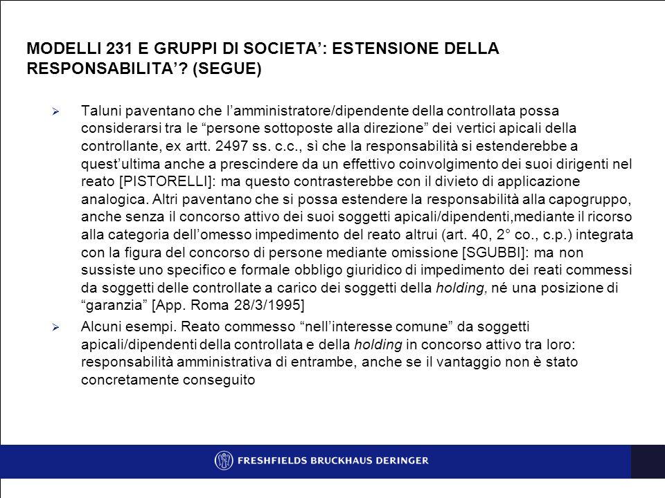 MODELLI 231 E GRUPPI DI SOCIETA': ESTENSIONE DELLA RESPONSABILITA'