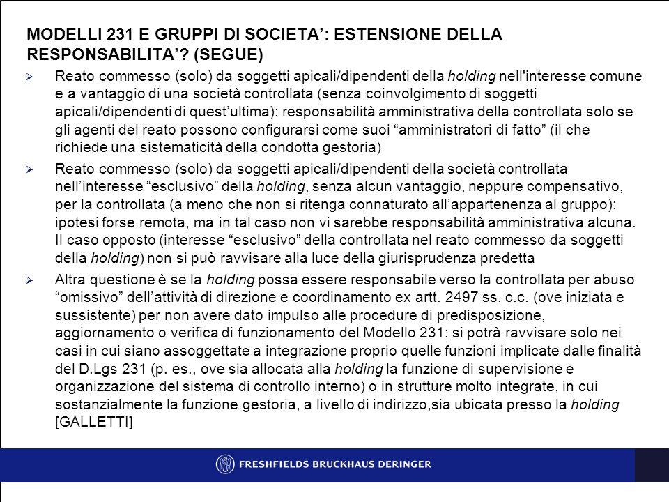 MODELLI 231, ODV E GRUPPI DI SOCIETA' IN UNA PROSPETTIVA DI GOVERNANCE EFFICIENTE