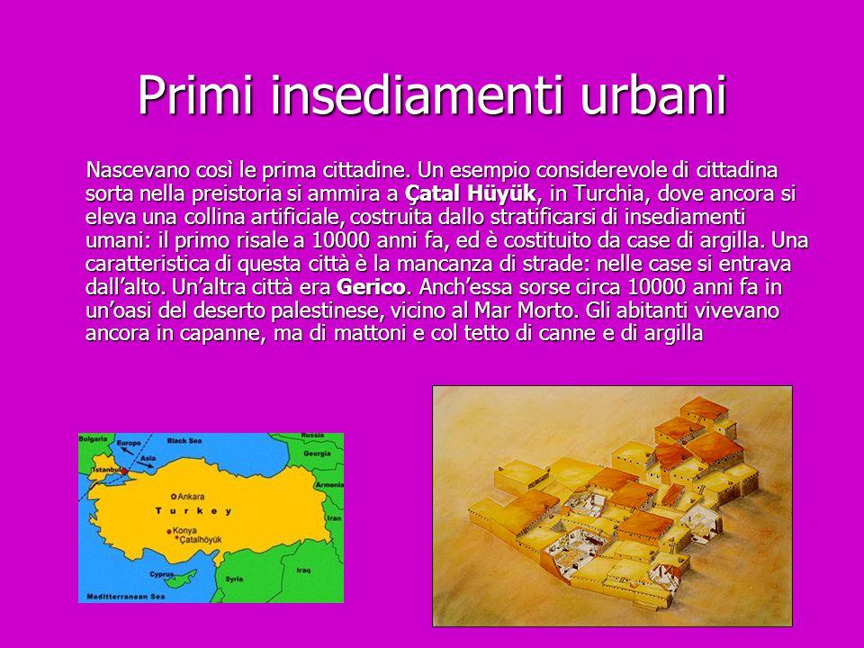 Primi insediamenti urbani