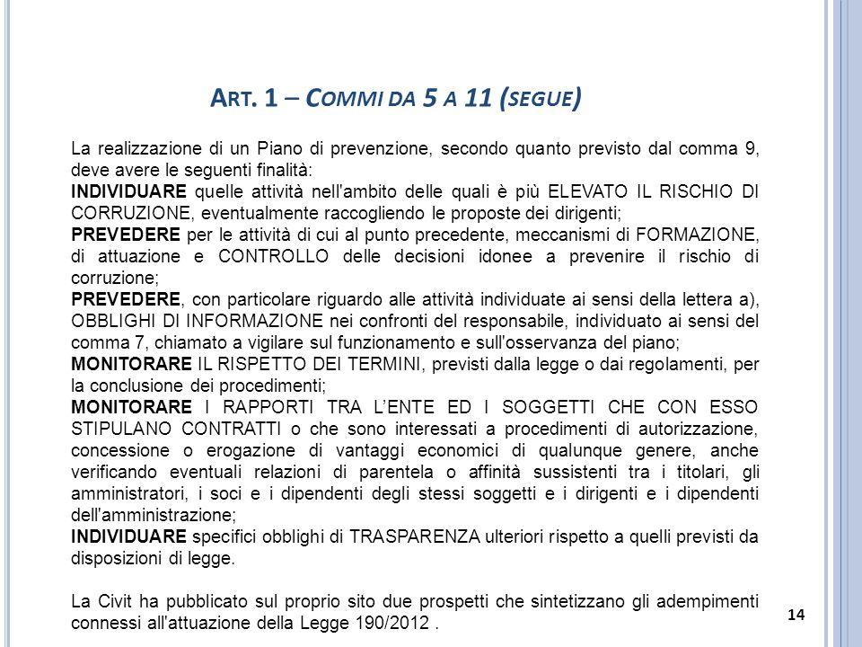 Art. 1 – Commi da 5 a 11 (segue) La realizzazione di un Piano di prevenzione, secondo quanto previsto dal comma 9, deve avere le seguenti finalità:
