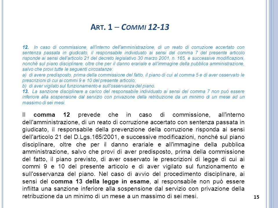 Art. 1 – Commi 12-13