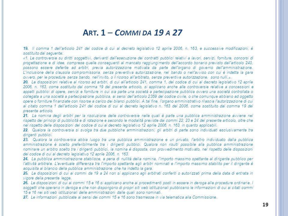 Art. 1 – Commi da 19 a 27