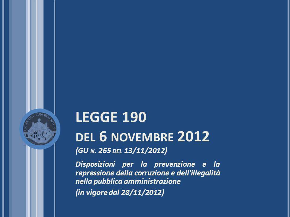 LEGGE 190 del 6 novembre 2012 (GU n. 265 del 13/11/2012)