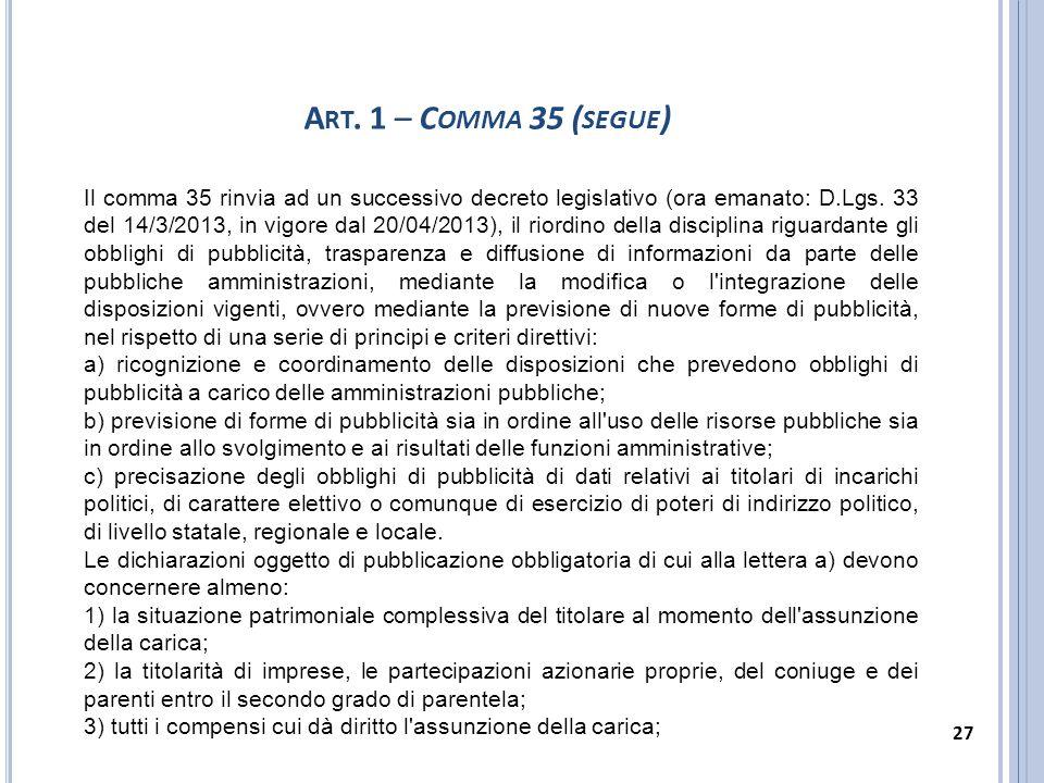 Art. 1 – Comma 35 (segue)