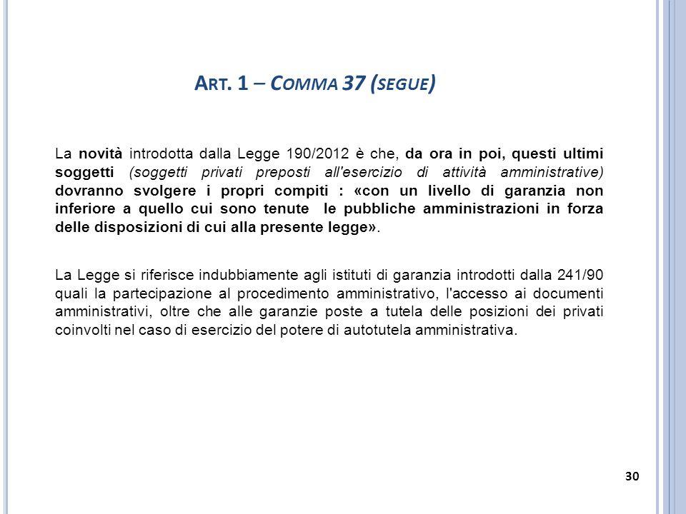 Art. 1 – Comma 37 (segue)