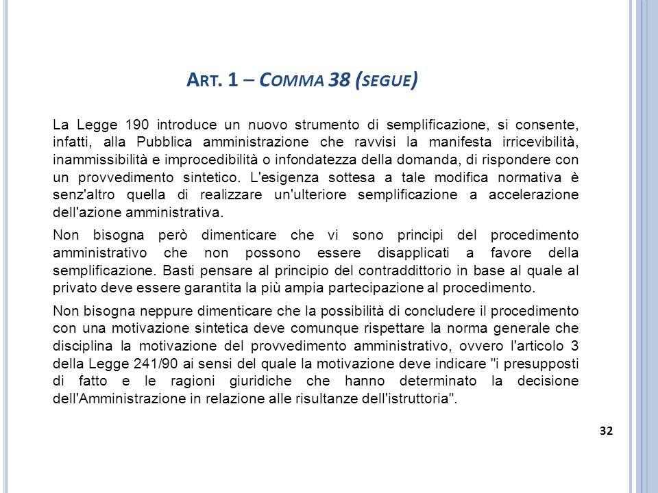 Art. 1 – Comma 38 (segue)