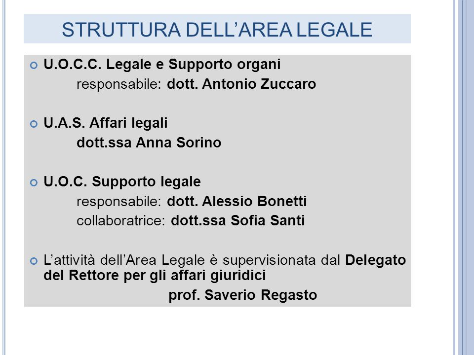 STRUTTURA DELL'AREA LEGALE