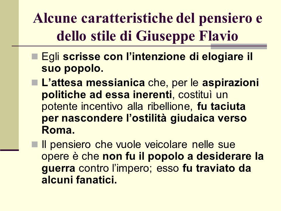 Alcune caratteristiche del pensiero e dello stile di Giuseppe Flavio