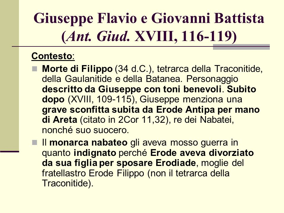 Giuseppe Flavio e Giovanni Battista (Ant. Giud. XVIII, 116-119)