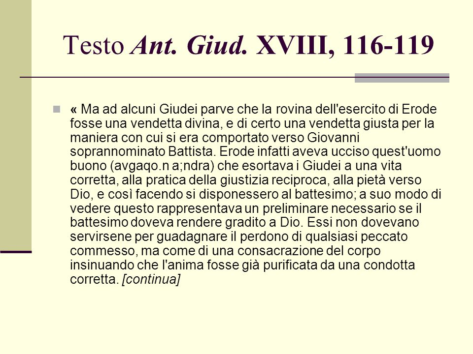 Testo Ant. Giud. XVIII, 116-119