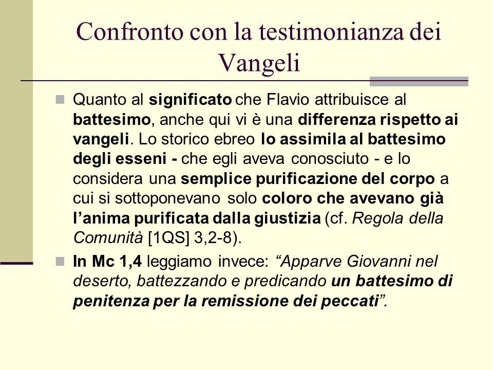 Confronto con la testimonianza dei Vangeli