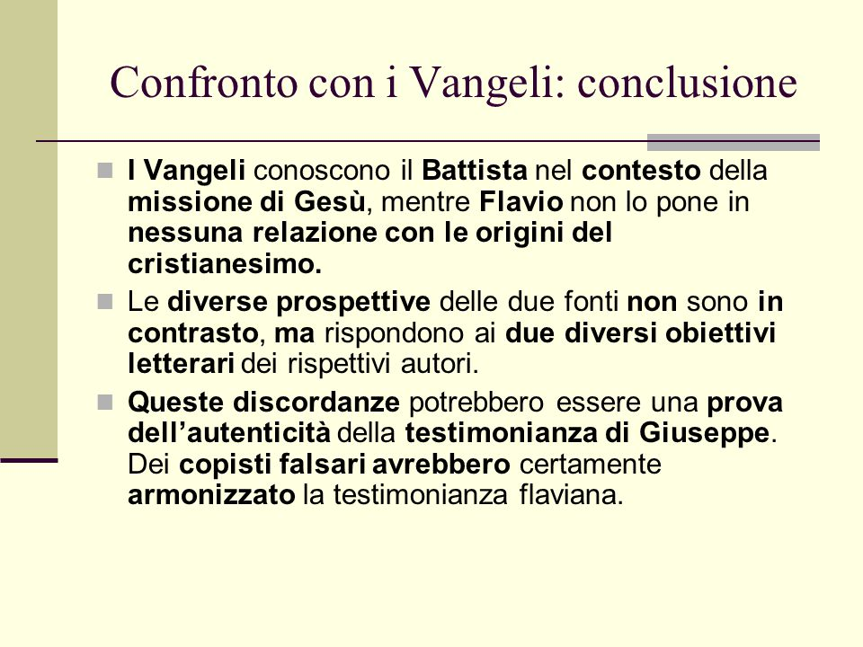 Confronto con i Vangeli: conclusione