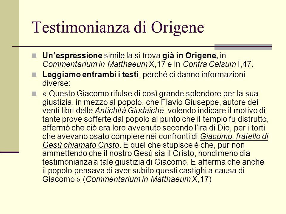 Testimonianza di Origene