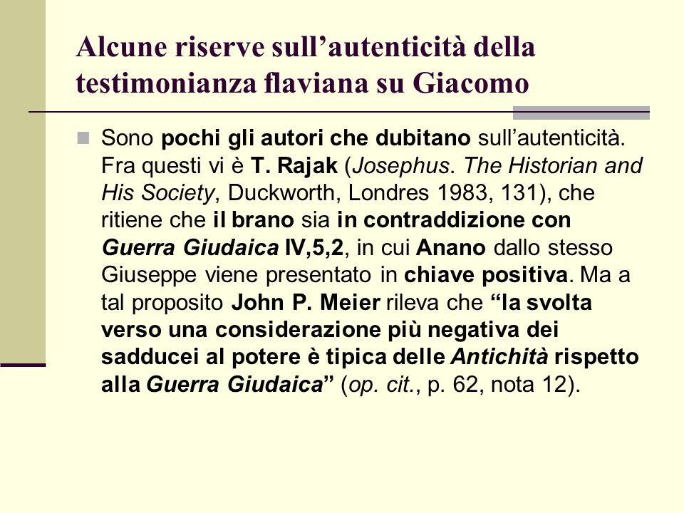 Alcune riserve sull'autenticità della testimonianza flaviana su Giacomo