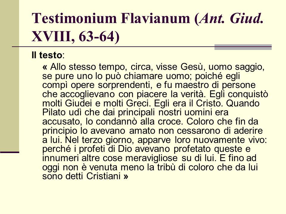 Testimonium Flavianum (Ant. Giud. XVIII, 63-64)