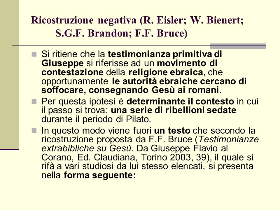 Ricostruzione negativa (R. Eisler; W. Bienert; S. G. F. Brandon; F. F