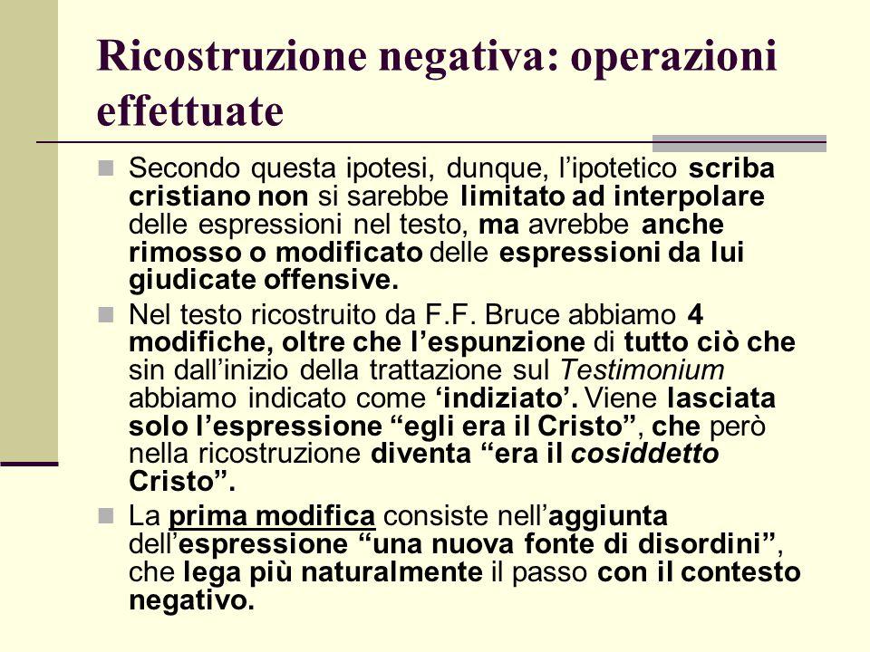 Ricostruzione negativa: operazioni effettuate