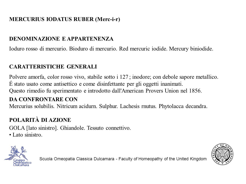 MERCURIUS IODATUS RUBER (Merc-i-r) DENOMINAZIONE E APPARTENENZA