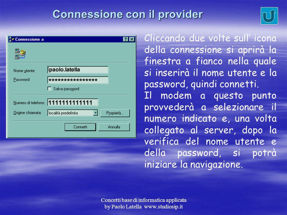 Connessione con il provider