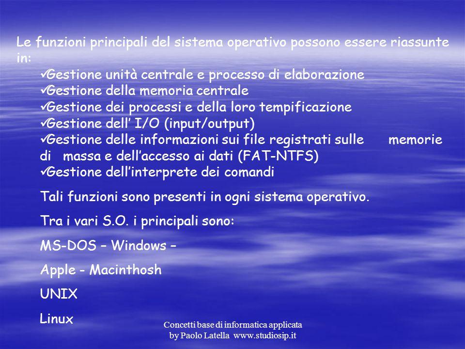 Gestione unità centrale e processo di elaborazione