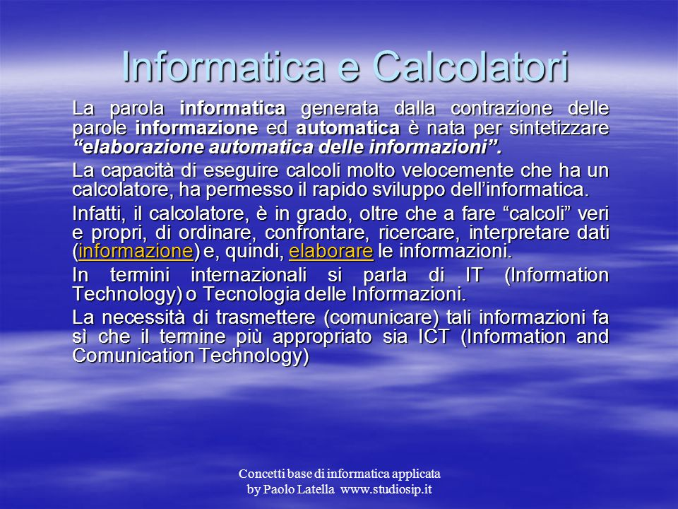Informatica e Calcolatori