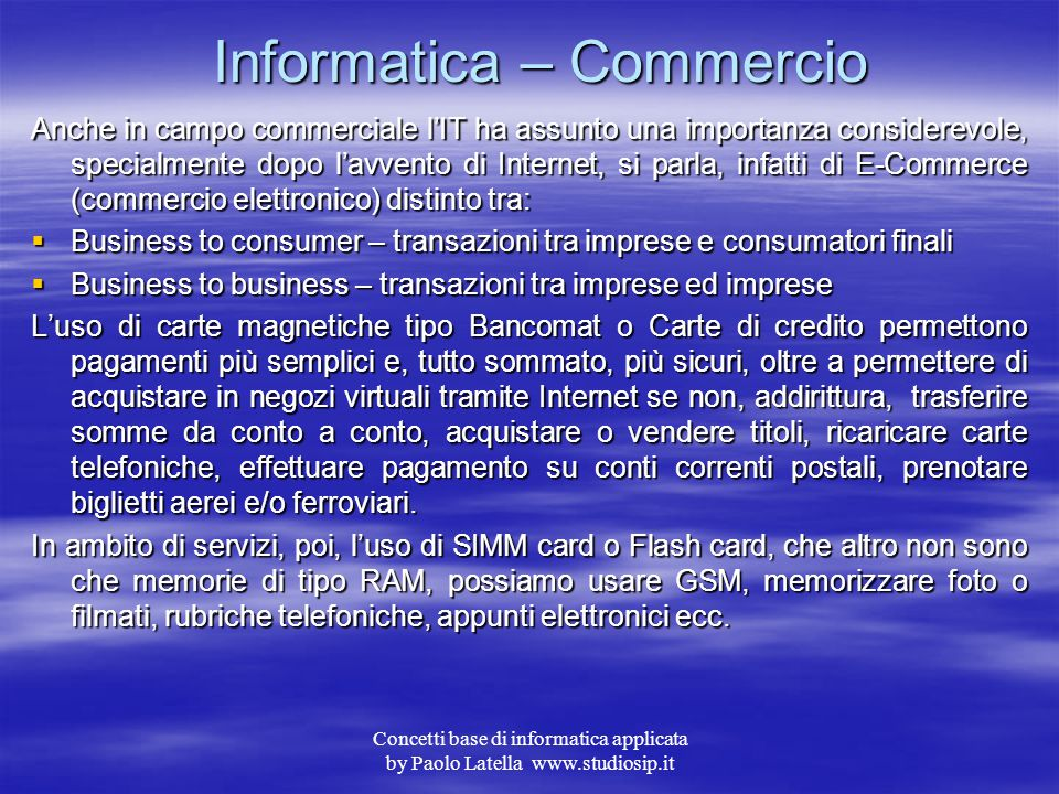 Informatica – Commercio
