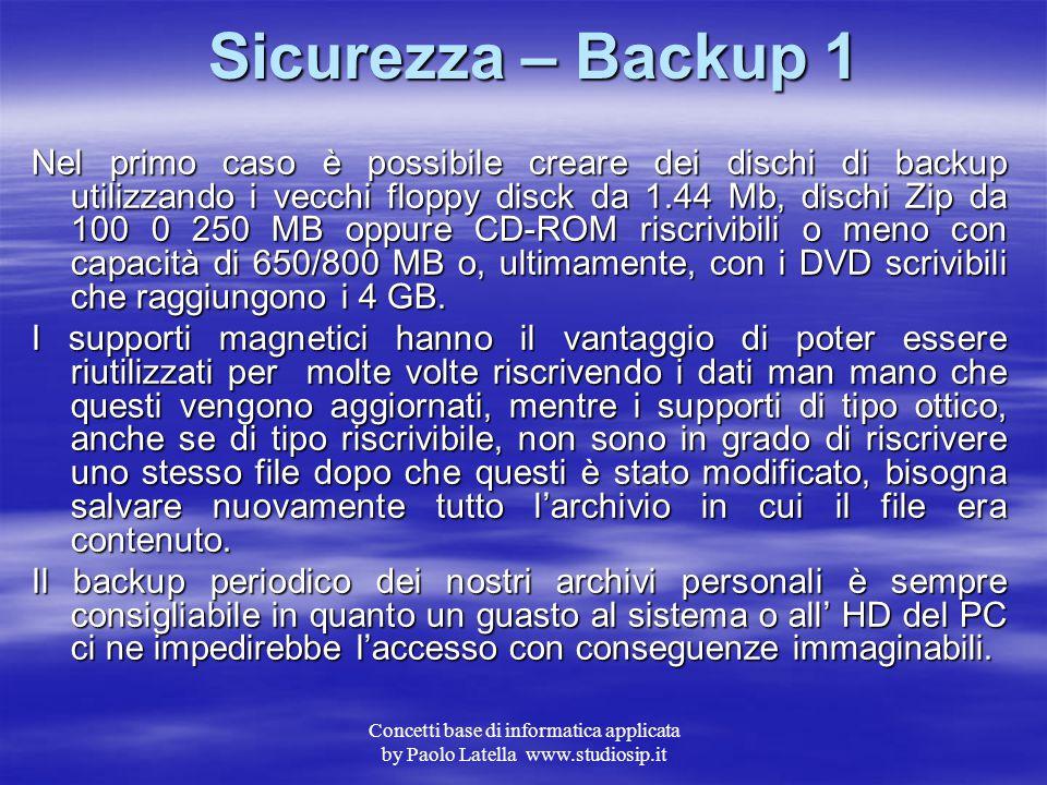 Sicurezza – Backup 1