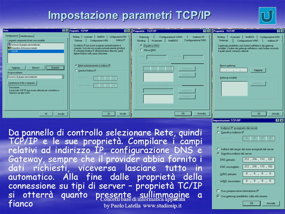 Impostazione parametri TCP/IP