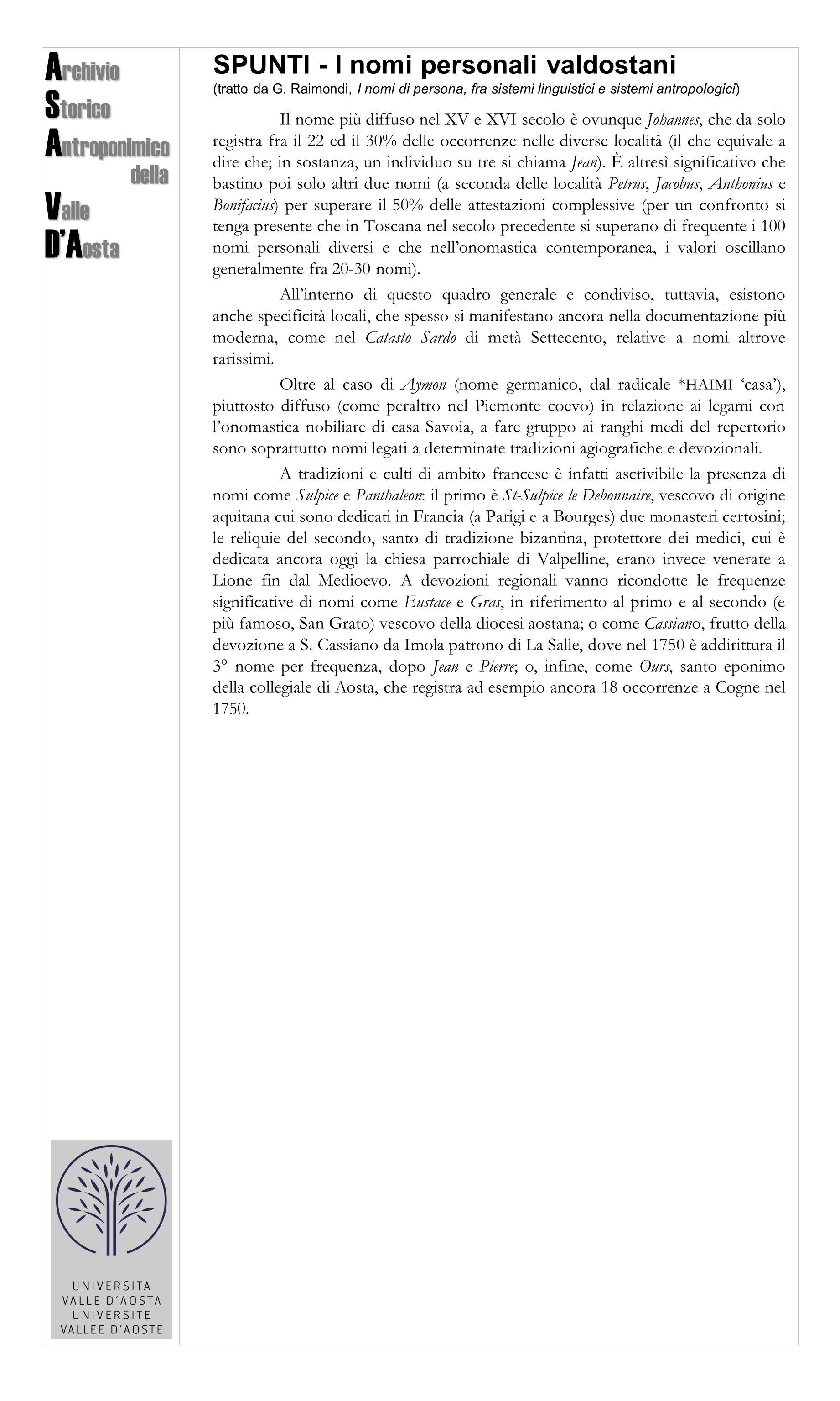 Archivio Storico Antroponimico Valle D'Aosta