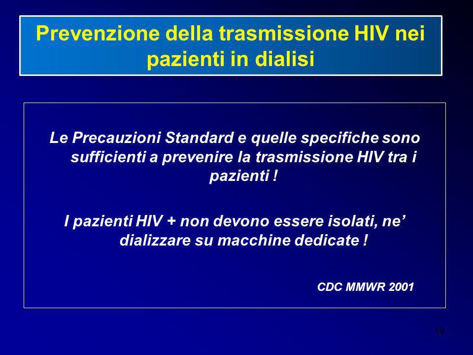 Prevenzione della trasmissione HIV nei pazienti in dialisi