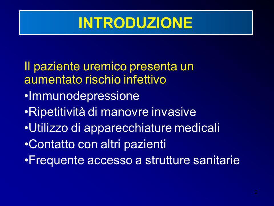 INTRODUZIONE Il paziente uremico presenta un aumentato rischio infettivo. Immunodepressione. Ripetitività di manovre invasive.