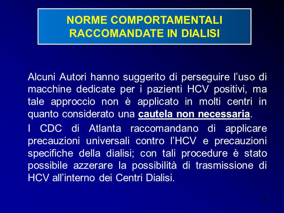 NORME COMPORTAMENTALI RACCOMANDATE IN DIALISI