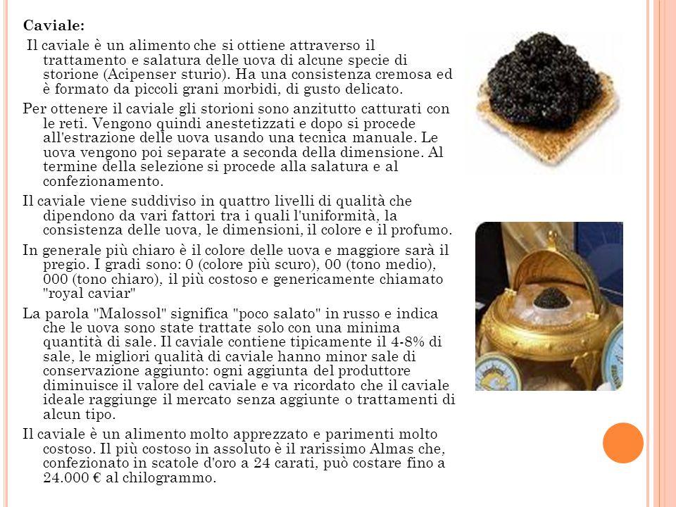 Caviale: Il caviale è un alimento che si ottiene attraverso il trattamento e salatura delle uova di alcune specie di storione (Acipenser sturio).
