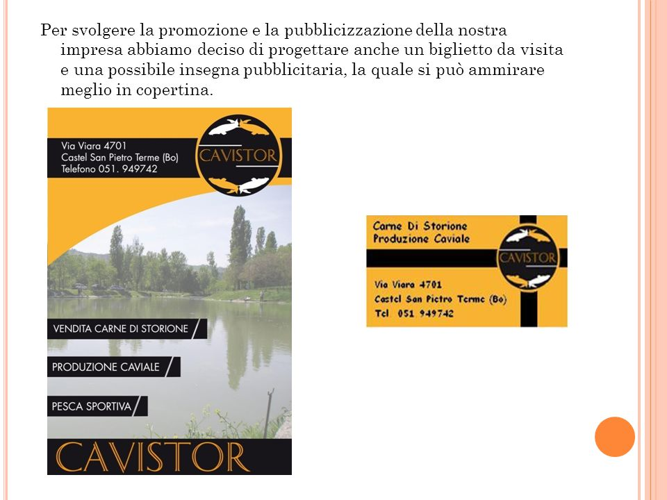 Per svolgere la promozione e la pubblicizzazione della nostra impresa abbiamo deciso di progettare anche un biglietto da visita e una possibile insegna pubblicitaria, la quale si può ammirare meglio in copertina.
