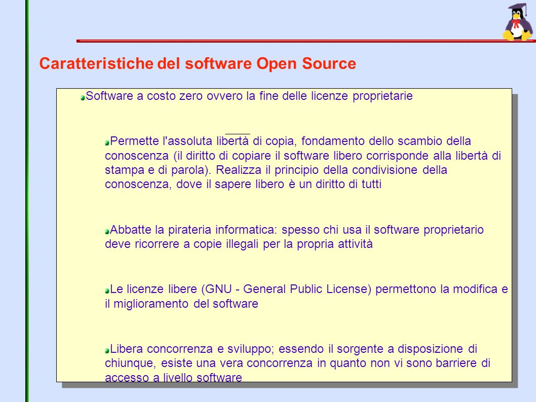 Caratteristiche del software Open Source