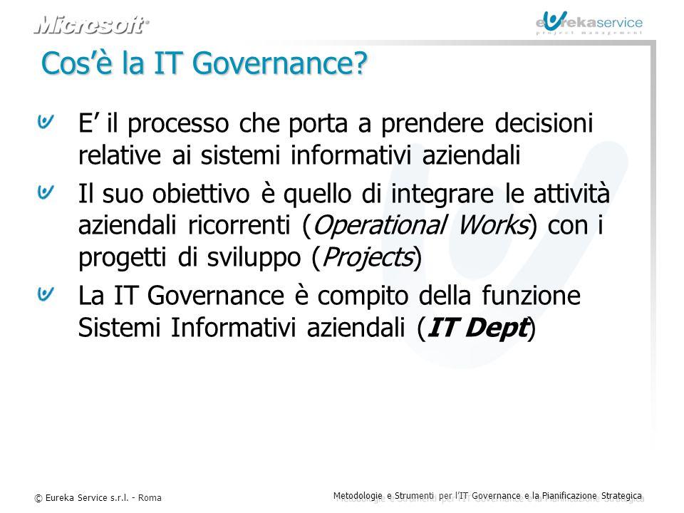Cos'è la IT Governance E' il processo che porta a prendere decisioni relative ai sistemi informativi aziendali.
