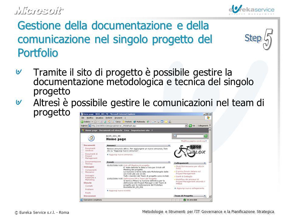 Gestione della documentazione e della comunicazione nel singolo progetto del Portfolio