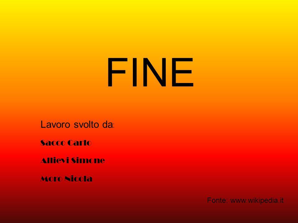 FINE Lavoro svolto da: Sacco Carlo Allievi Simone Moro Nicola