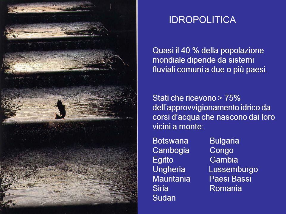 IDROPOLITICA Quasi il 40 % della popolazione mondiale dipende da sistemi fluviali comuni a due o più paesi.