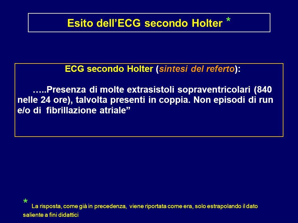 Esito dell'ECG secondo Holter *