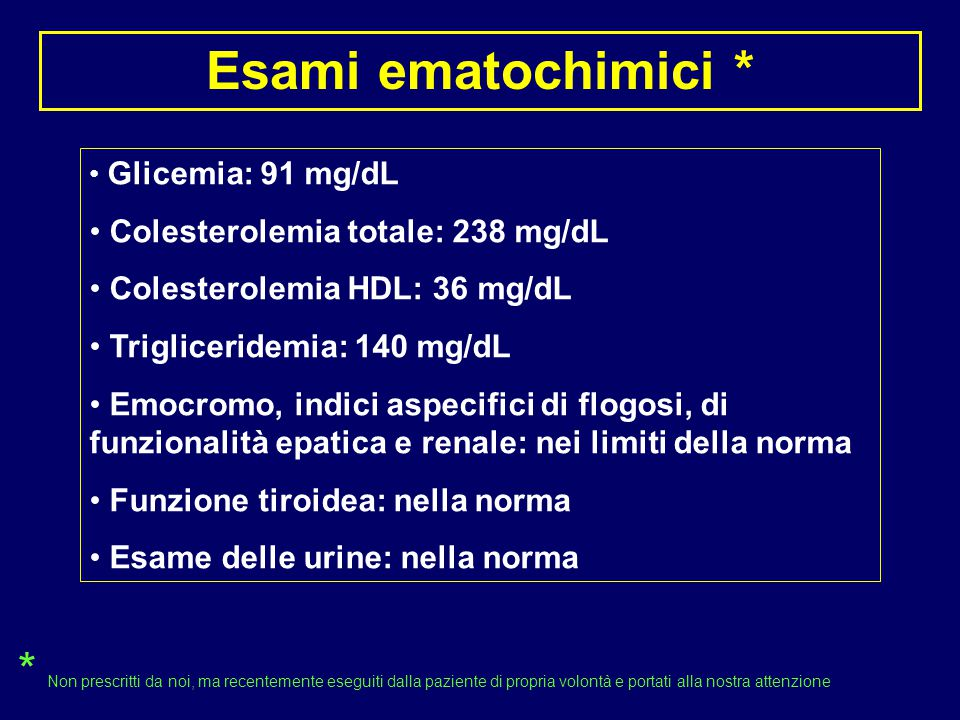 Esami ematochimici * Glicemia: 91 mg/dL. Colesterolemia totale: 238 mg/dL. Colesterolemia HDL: 36 mg/dL.