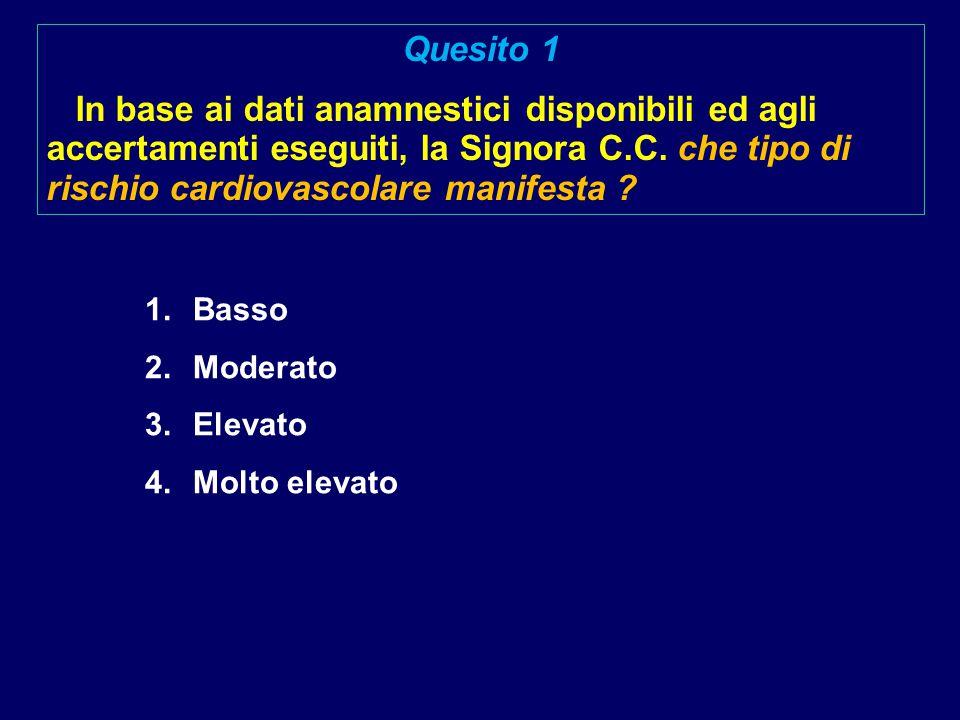 Quesito 1 In base ai dati anamnestici disponibili ed agli accertamenti eseguiti, la Signora C.C. che tipo di rischio cardiovascolare manifesta